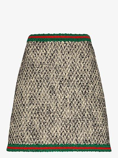 Web stripe tweed mini skirt
