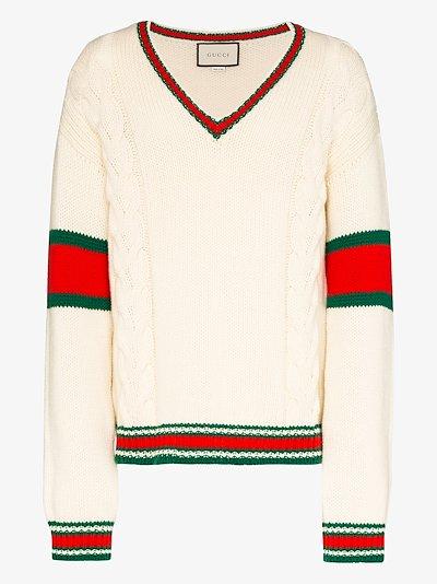 Web Stripe Wool Sweater