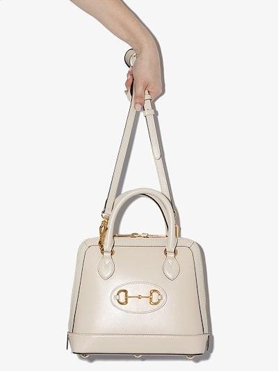 white Horsebit 1955 leather top handle bag