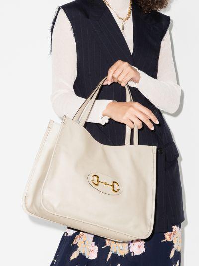 white Horsebit 1955 leather tote bag