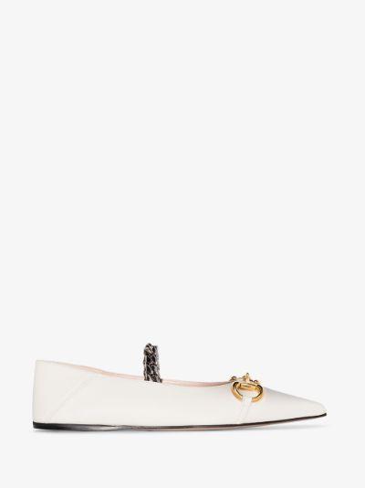 white Horsebit leather pumps