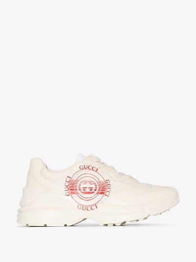 white Rhyton leather sneakers