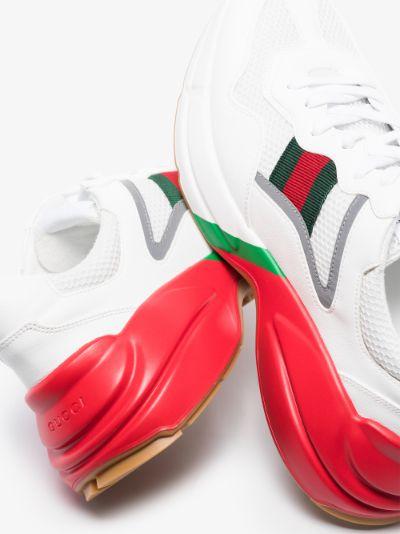 White Rhyton web logo leather Sneakers