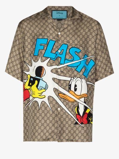 x Disney Donald Duck-print silk bowling shirt
