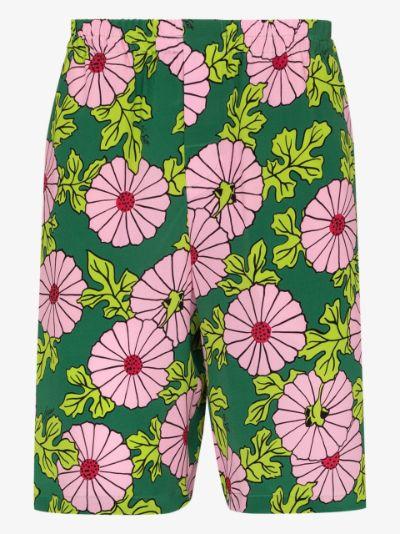 X Ken Scott floral print silk shorts