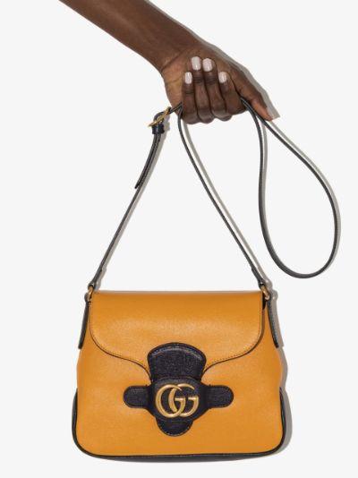 yellow Dahlia leather cross body bag