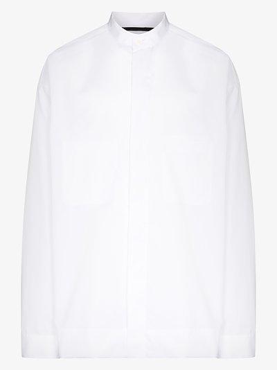 Mandarin collar poplin dress shirt