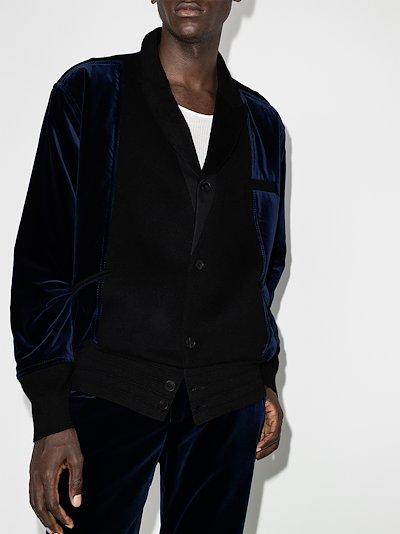 panelled wool and velvet bomber jacket