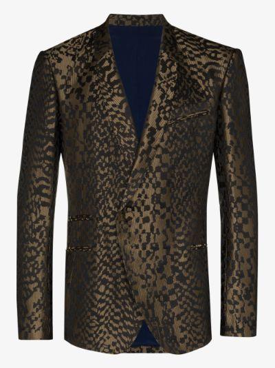 single-breasted metallic jacquard blazer