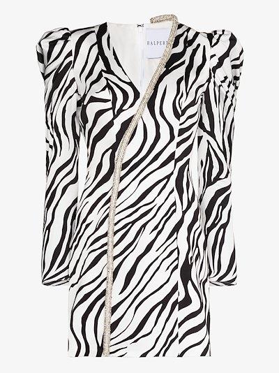 crystal trim zebra print mini dress