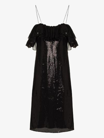 gathered sequin midi dress