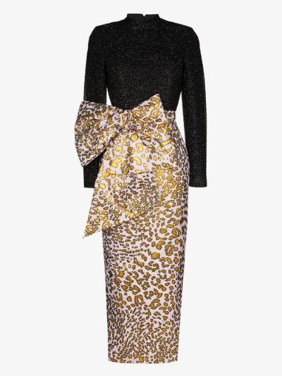 leopard print bow dress
