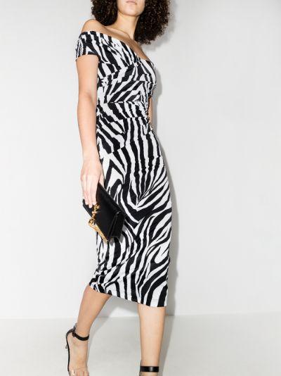 off-the-shoulder zebra print midi dress