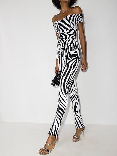 ruched zebra print jumpsuit