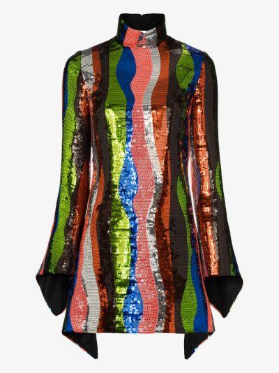 squiggle stripe sequin mini dress