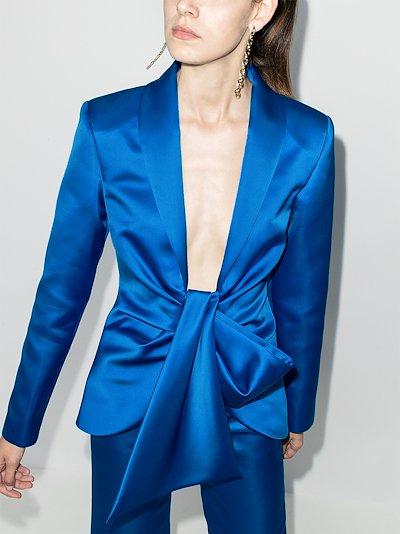 tie front draped blazer