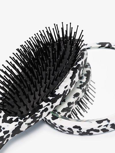 black and white brush and mirror set