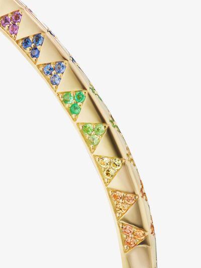 18K yellow gold knife edge rainbow sapphire bracelet