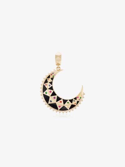 18K yellow gold Mini moon sapphire charm