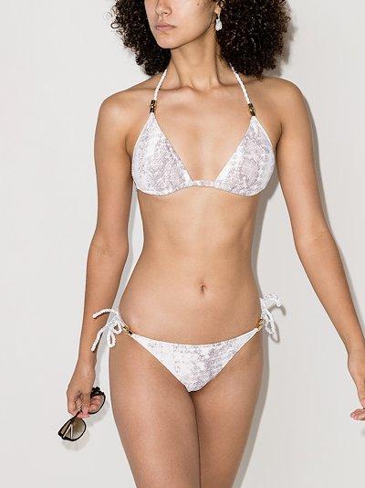 Core snake print triangle bikini top