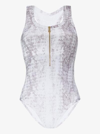 zip front snake print swimsuit