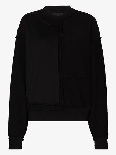 reverse crew neck sweater