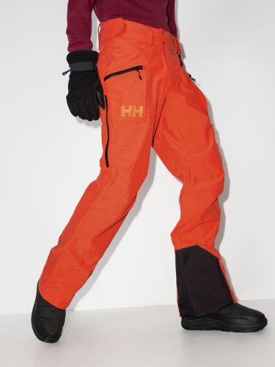 orange elevation shell ski trousers