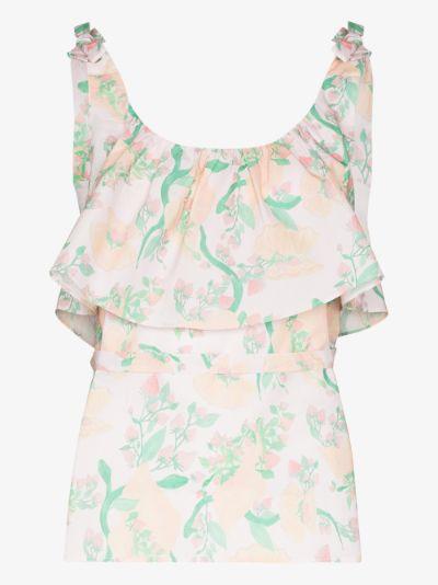 ruffled floral camisole pyjama top