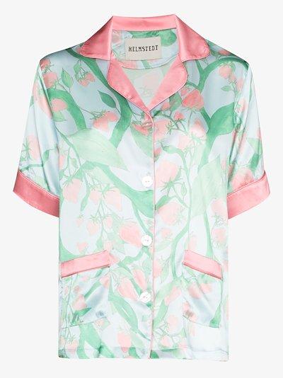 Strawberry print silk pyjama shirt