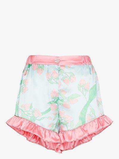 strawberry print silk pyjama shorts