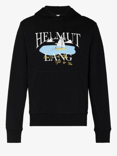 X Saintwoods ocean print cotton hoodie