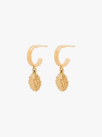 gold-plated Leo hoop earrings