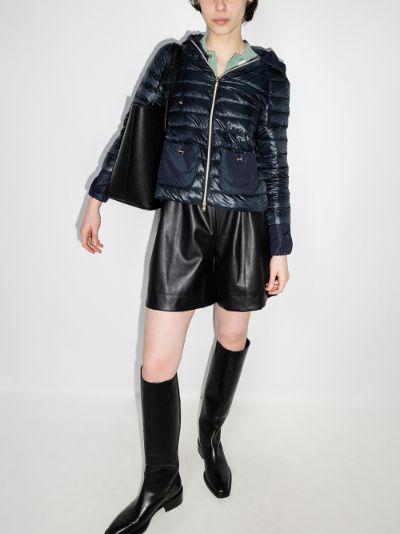 zip-up hooded puffer jacket