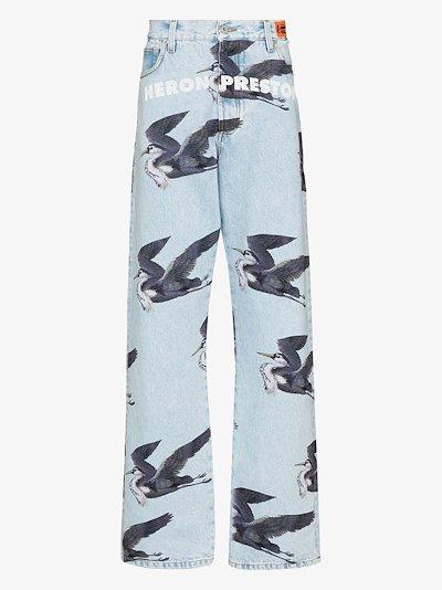 Bird print jeans
