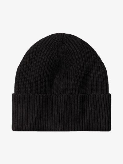 black embroidered beanie hat