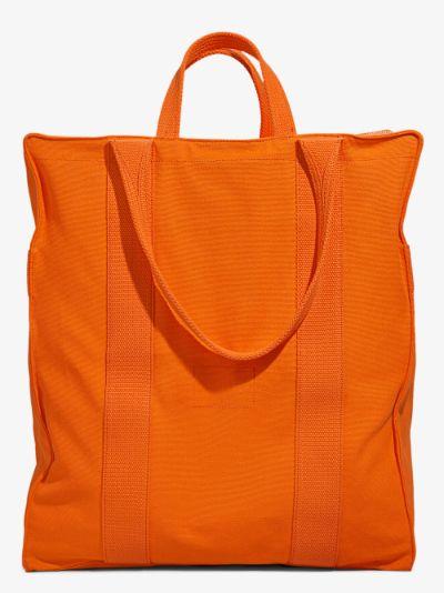orange canvas tote bag