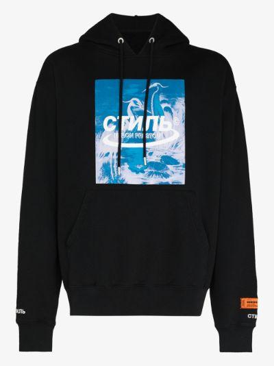 heron print cotton hoodie