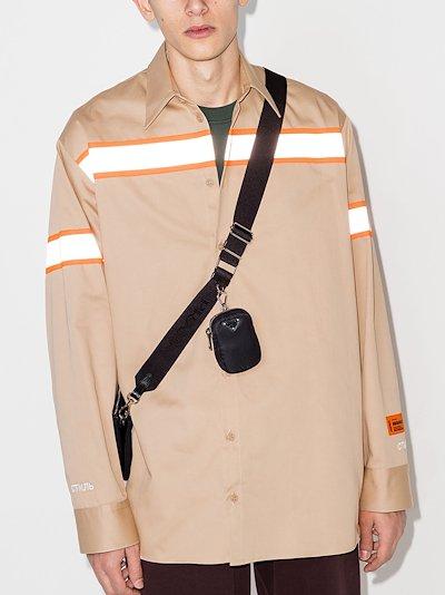 stripe-print button-up shirt