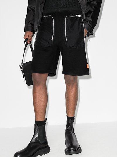 zipped cotton logo shorts