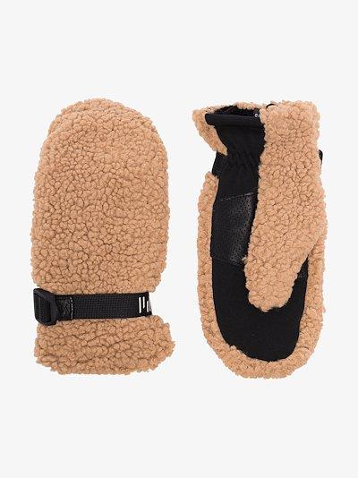 beige Sherpa faux shearling mittens