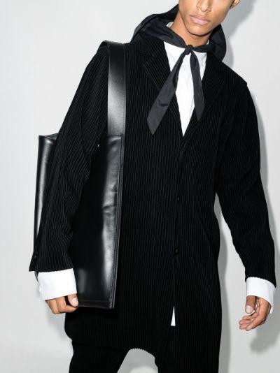 Basics plissé single-breasted coat