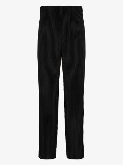 Basics plissé straight leg trousers
