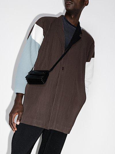 contrast panel plissé blazer