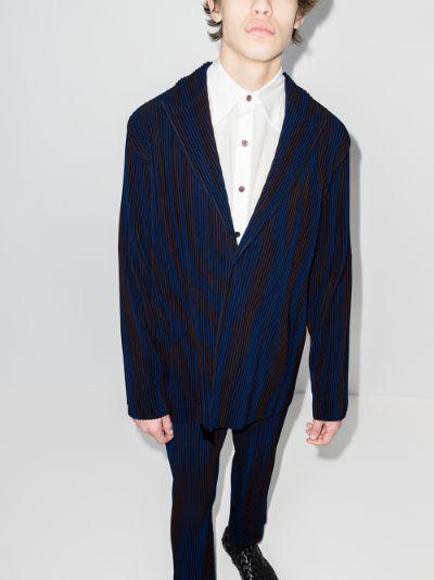 Hologram stripe pleated blazer