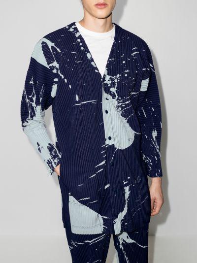 paint print plissé shirt jacket
