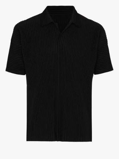pleated polo shirt