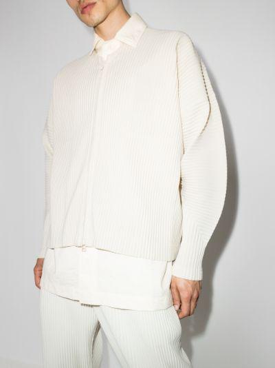 pleated zip-up cardigan