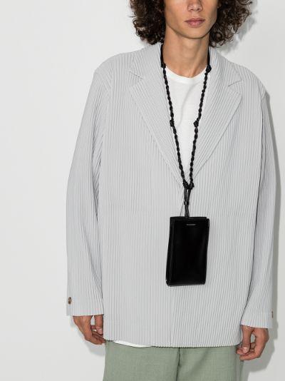 plissé single-breasted blazer