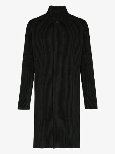 plissé single-breasted coat