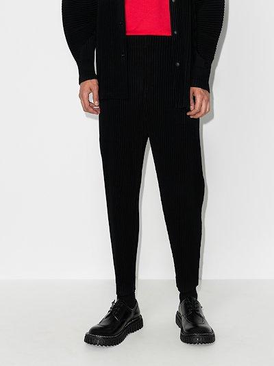 plissé tapered leg trousers